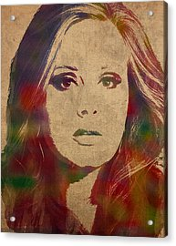 Adele Watercolor Portrait Acrylic Print by Design Turnpike