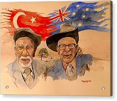 Acrylic Print featuring the painting Adil Sahin And Len Hall by Ray Agius
