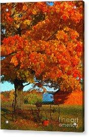 Adirondack Autumn Color Brush Acrylic Print by Diane E Berry