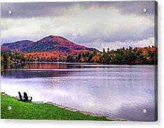 Adirondack Chairs In The Adirondacks. Mirror Lake Lake Placid Ny New York Mountain Acrylic Print