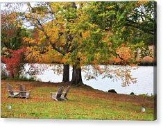 Adirondack Chairs Acrylic Print by Nancy Wilt