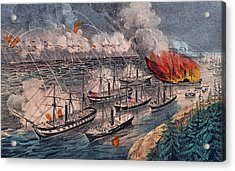 Admiral Farragut's Fleet Engaging The Rebel Batteries At Port Hudson Acrylic Print