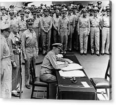 Admiral Nimitz Signing The Japanese Surrender  Acrylic Print by War Is Hell Store