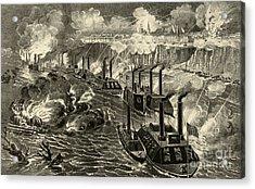 Admiral Porter's Fleet Running The Rebel Blockade Of The Mississippi At Vicksburg Acrylic Print