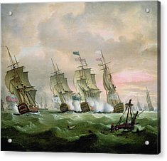 Admiral Sir Edward Hawke Defeating Admiral De Conflans In The Bay Of Biscay Acrylic Print by Thomas Luny
