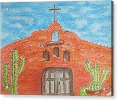 Acrylic Print featuring the painting Adobe Church And Cactus by Kathy Marrs Chandler