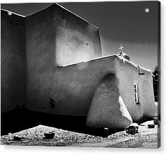 Adobe Church In B-w Acrylic Print