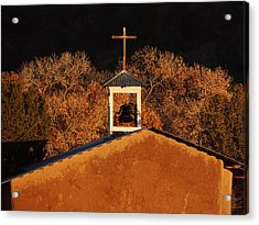 Adobe Church At San Ildefonso Pueblo In Northern New Mexico Acrylic Print