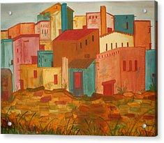 Adobe Village Acrylic Print by Judi Goodwin