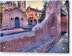 Adobe Wall And Felipe De Neri Church Acrylic Print by Steven Ainsworth