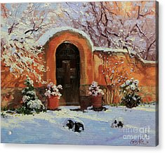 Adobe Wall With Wooden Door In Snow. Acrylic Print by Gary Kim