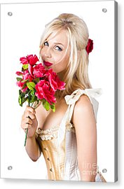 Adorable Florist Woman Smelling Red Flowers Acrylic Print