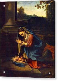 Adoration Of The Child Acrylic Print by Antonio Correggio