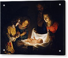 Acrylic Print featuring the painting Adoration Of The Child by Gerrit van Honthorst