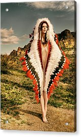 Adorned Feathered Nude Acrylic Print