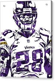 Acrylic Print featuring the mixed media Adrian Peterson Minnesota Vikings Pixel Art 2 by Joe Hamilton