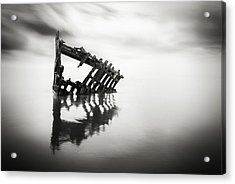 Adrift At Sea In Black And White Acrylic Print by Eduard Moldoveanu
