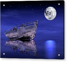 Acrylic Print featuring the photograph Adrift In The Moonlight - Old Fishing Boat by Gill Billington
