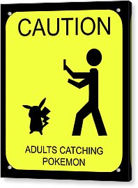 Acrylic Print featuring the digital art Adults Catching Pokemon 1 by Shane Bechler