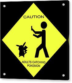 Acrylic Print featuring the digital art Adults Catching Pokemon 2 by Shane Bechler