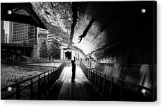 Advanced Selfie - Chicago, United States - Black And White Street Photography Acrylic Print