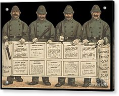 Advertisement For Hudson's Soap With Policemen Acrylic Print by Celestial Images