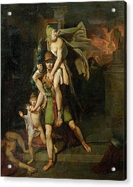 Aeneas Fleeing With His Father Acrylic Print by MotionAge Designs