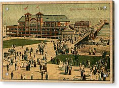 Aerial Birds Eye View Of Long Beach Pier And Beachfront California Circa 1895 Acrylic Print