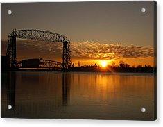 Aerial Bridge In Sunrise Acrylic Print by Evia Nugrahani Koos