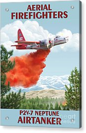 Aerial Firefighters P2v Neptune Acrylic Print by Airtanker Art