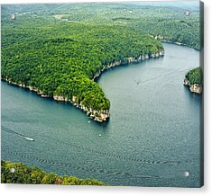 Aerial Image Of  Long Point Cliff Acrylic Print by Mark Allen