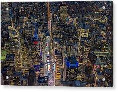 Aerial New York City 42nd Street Acrylic Print by Susan Candelario