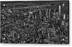 Aerial New York City Sunset Bw Bw Acrylic Print by Susan Candelario