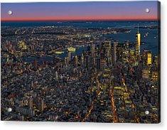 Aerial New York City Sunset Acrylic Print by Susan Candelario