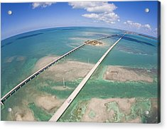 Aerial Of Seven Mile Bridge At Extreme Acrylic Print by Mike Theiss