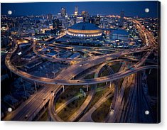 Aerial Of The Superdome In The Downtown Acrylic Print by Tyrone Turner