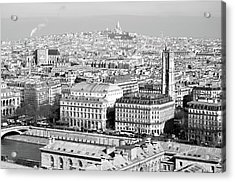 Aerial Parisienne City View From Tour St Jacques To Sacre Coeur Black And White Acrylic Print
