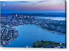 Aerial Seattle And Lake Union Acrylic Print by Mike Reid