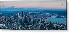Aerial Seattle Puget Sound At Dusk Acrylic Print by Mike Reid