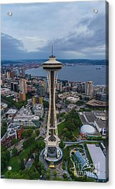 Aerial Seattle Space Needle Acrylic Print by Mike Reid