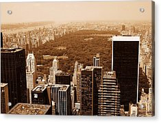 Aerial View Central Park Acrylic Print by Allan Einhorn