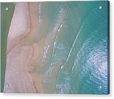 Aerial View Of Beach And Wave Patterns Acrylic Print