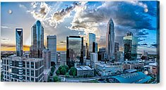 Aerial View Of Charlotte City Skyline At Sunset Acrylic Print by Alex Grichenko