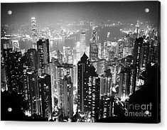 Aerial View Of Hong Kong Island At Night From The Peak Hksar China Acrylic Print by Joe Fox