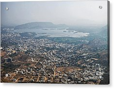 Acrylic Print featuring the photograph Aeriel View Of Udaipur From Monsoon Palace by Yew Kwang
