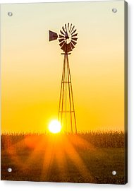 Aermotor Sunset Vertical Acrylic Print by Chris Bordeleau