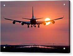 Aeroplane Landing At Sunset, Canada Acrylic Print by David Nunuk