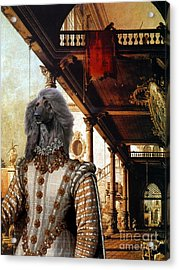 Afghan Hound-capriccio Of Colonade And The Courtyard Of A Palace Canvas Fine Art Print Acrylic Print