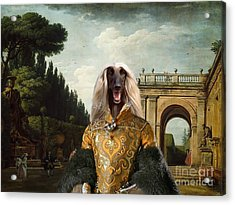 Afghan Hound-the Afternoon Promenade In Rome  Canvas Fine Art Print Acrylic Print