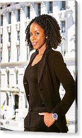 African American Businesswoman Working In New York Acrylic Print